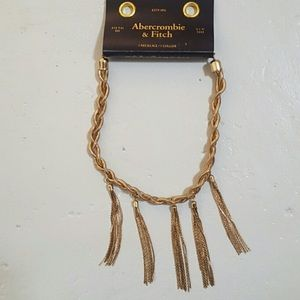 Abercrombie Gold chain Tassel Statement Necklace